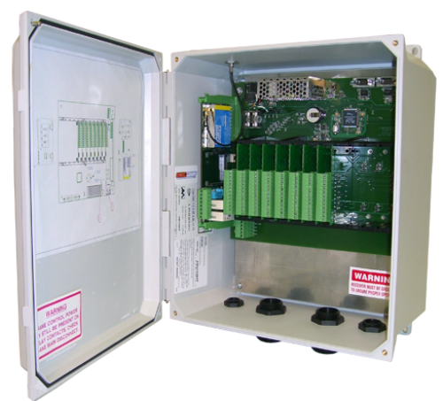 "The Advantage Series receiver utilizes a proprietary ""PLC on a Chip"" technology which allows for application specific ladder logic programming. The system is modular in design to provide both analog and digital input and output capabilities for various voltage and current conditions."