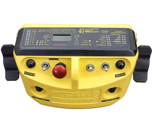 "For ""in-plant railroad operation,"" this transmitter allows for dual control of the brake and throttle on both sides of the transmitter. The brake/throttle selector has ""spring return dead-man center functionality"" and a large, red mushroom stop button. The DBT is compatible with TrainChief®plus ™ and MU"